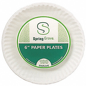 Disposable Plate,White,6 In,PK1000