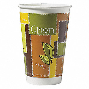16 oz. Disposable Hot Cup, Paper, Brown/Green, PK 495