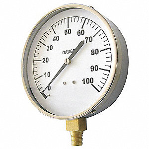 "Pressure Gauge, Mechanical Contractors Gauge Type, 0 to 1000 psi Range, 4-1/2"" Dial Size"
