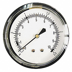 "Pressure Gauge, Low Pressure Diaphragm Gauge Type, 0 to 10 psi Range, 2-1/2"" Dial Size"