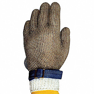 Stainless Steel Mesh Cut Resistant Glove, Silver, L, EA 1