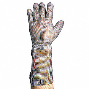 Stainless Steel Mesh, Cut Resistant Gloves, Silver, XL, EA 1