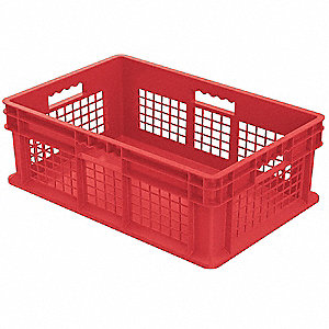 Container,23-3/4 In. L,15-3/4 In. W,Red