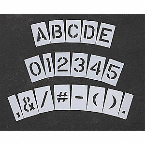 "Pavement Stencil, Letters, Numbers, and Punctuation, 6"", Low Density Polyethylene, 1 EA"