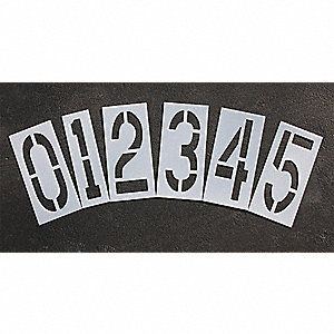 Pavement Stencil,24 in,Number Kit,1/16