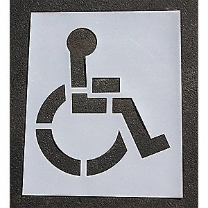Pavement Stencil,48 in,Handicap,1/16