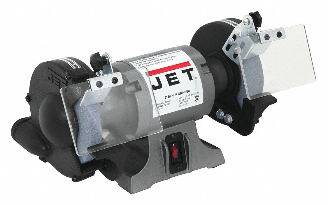 Jet 6 Quot Bench Grinder 115v 1 2 Hp 3450 Max Rpm 1 2