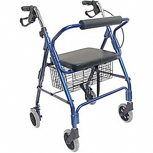 "Adult Rollator, Royal Blue, 32 to 36"" Overall Height"