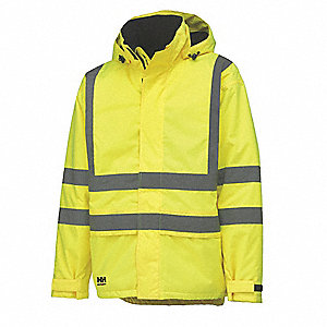 "Men's Hi-Visibility Yellow Polyester Insulated Rain Jacket, Size XL, Fits Chest Size 44"" to 46"", 33"""