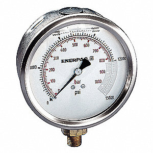 "Pressure Gauge, Liquid Filled Gauge Type, 0 to 15,000 psi Range, 4"" Dial Size"