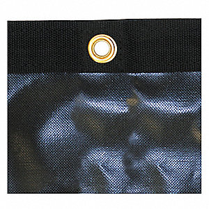 Vinyl Mesh Tarp, Resists UV Rays, 7 x 20 ft. Cut Size, 10 mil, Black