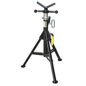 "V-Head Pipe Stand, 24"" Pipe Capacity, 28"" to 49"" Overall Height, 2500 lb. Load Capacity"