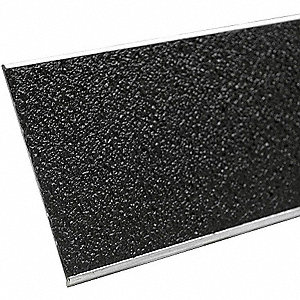 "Black, Aluminum Stair Tread Cover, Installation Method: Fasteners, Beveled Edge Type, 60"" Width"