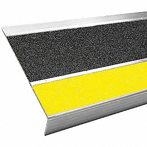 Black with Safety Yellow Front, Aluminum Stair Tread Cover, Installation Method: Fasteners, Beveled