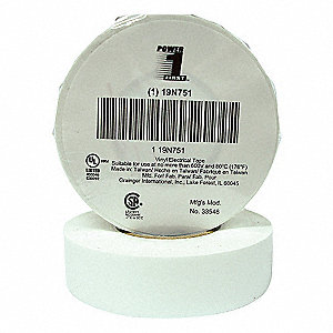 "White Vinyl Electrical Tape, 3/4"" Width, 60 ft. Length, 7 mil Thickness"