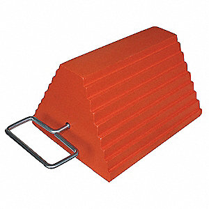 "Orange Wheel Chock, Rubber, 9-1/4"" Width, 8"" Depth, 6"" Height"
