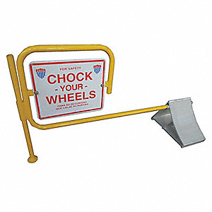 "Silver Wheel Chock with Sign, Aluminum, 7"" Width, 11-5/8"" Depth, 8"" Height"