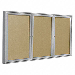 "Outdoor Enclosed Bulletin Board, Tack, Caramel Board Color, 96"" Width, 48"" Height"