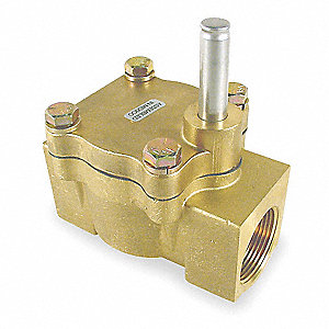 Brass Solenoid Valve Less Coil, 2-Way Valve Design, Normally Closed Valve Configuration