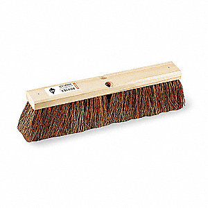 "Brown Palmyra Push Broom, Block Size 18"", Hardwood Block Material"
