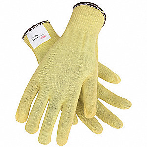 Uncoated, Cut Resistant Gloves, Kevlar® Lining, Yellow, L, PR 1