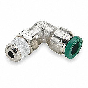 Metal Swivel Elbow, 90°, Nickel Plated Brass Body Material, Tube x MNPT Connection Type