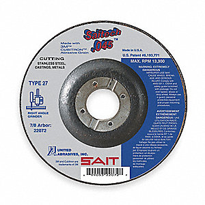 "6"" Abrasive Cut-Off Wheel, Ceramic, 0.045"" Thickness, 7/8"" Arbor Size, Type 27"