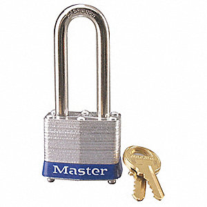 Blue Lockout Padlock, Different Key Type, Master Keyed: No, Laminated Steel Body Material