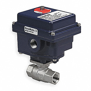 "Stainless Steel Electronic Actuated Ball Valve, 1/2"" Pipe Size, 12VDC, 24VAC/VDC Voltage"