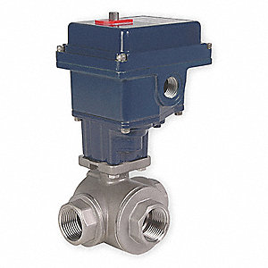 "Stainless Steel Electronic Actuated Ball Valve, 3/4"" Pipe Size, 115VAC Voltage"