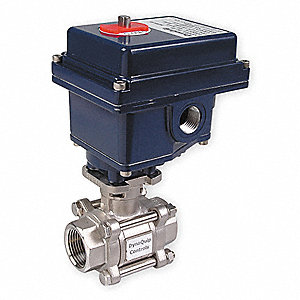 "Stainless Steel Electronic Actuated Ball Valve, 1/2"" Pipe Size, 115VAC Voltage"