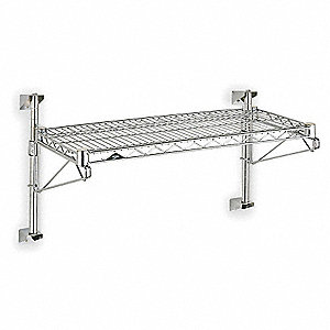 "Chrome Plated Wall Mounted Wire Shelving,Number of Shelves 1,14"" Height,48"" Width,24"" Depth"
