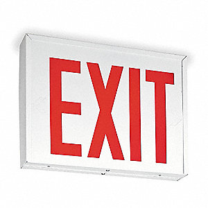 LED Exit Sign with Battery Backup, White Housing Color, 20 ga. Steel Housing Material