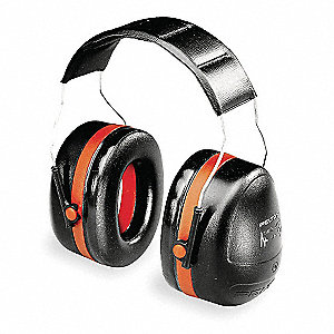 Ear Muff,30dB,Over-the-Head,Black/Red