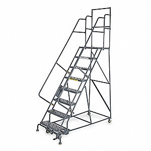 "Rolling Ladder, 186"" Overall Height, 450 lb. Load Capacity, Number of Steps 15"