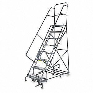 "Rolling Ladder, 156"" Overall Height, 450 lb. Load Capacity, Number of Steps 12"