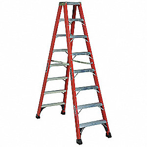 8 ft. 375 lb. Load Capacity Fiberglass Twin Stepladder