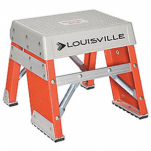 "Fiberglass Step Stand, 12"" Overall Height, 300 lb. Load Capacity, Number of Steps 1"