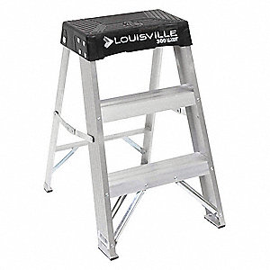 "Aluminum Step Stool, 24"" Overall Height, 300 lb. Load Capacity, Number of Steps 2"