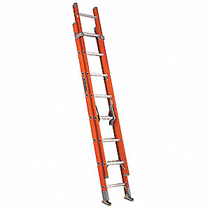 Extension Ladder, Fiberglass, IA ANSI Type, 16 ft. Industry Ladder Size