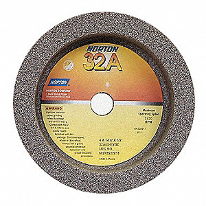 "4"" Straight Cup Grinding Wheel, 32A60-KVBE, 1-1/2"" Thickness, 1/2"" Arbor Size, 60 Grit, Package Quantity"