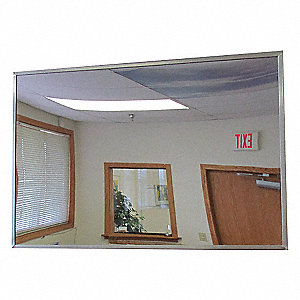 "Flat Mirror, Stainless Steel Lens Material, 12"" Width, 12"" Height"