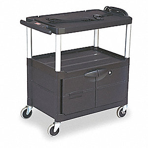 Cart with Cabinet,32-1/8Hx32 3/4W,Black
