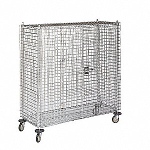 Wire Security Cart, 900 lb. Load Capacity, 4 swivel Caster Type, Polyurethane Caster Material