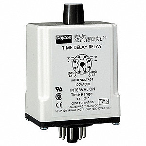 Time Delay Relay, 120VAC/DC Coil Volts, 10A Contact Amp Rating (Resistive), Contact Form: DPDT