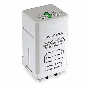 Impulse Sequencing Plug In Relay, 8 Pins, Square Base Type, 12A @ 240VAC Contact Rating, 24VDC Coil