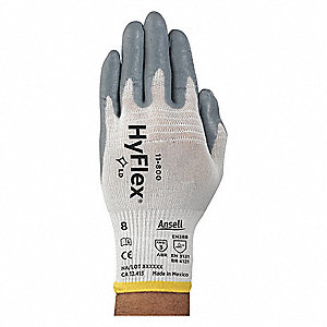 Coated Gloves,Palm,L,Gray/White,PR