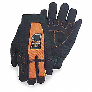 General Utility Mechanics Gloves, Synthetic Suede Palm Material, Black/Orange, M, PR 1