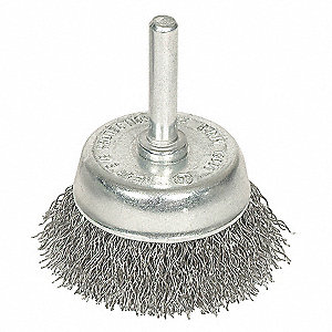 Crimped Cup Brush,1 3/4 Dia,0.0118 Wire