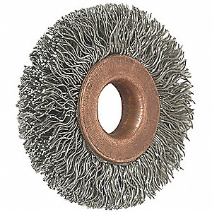 "Arbor Wire Wheel Brush, Crimped Wire, 1-1/2"" Brush Dia."